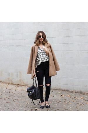 plaid top Boohoo top - black jeans Topshop jeans