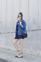 denim romper WalG romper - black crossbody Forever 21 purse - Ray Ban sunglasses
