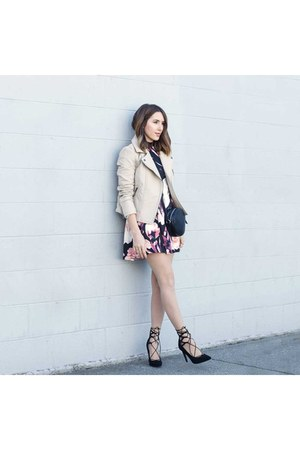black floral dress Forever 21 dress - beige moto jacket Forever 21 jacket
