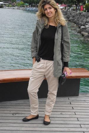 beige Zara pants - black H&M shoes - hobbs belt - green jacket