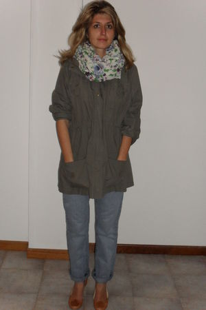 blue jeans - beige Bertie shoes - green jacket - scarf
