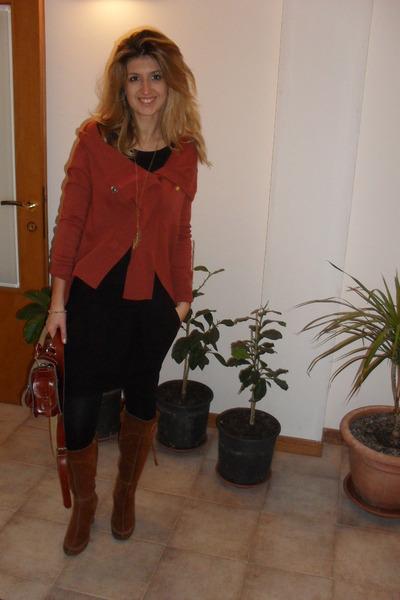 burnt orange suede next boots - black Zara skirt - burnt orange cardigan