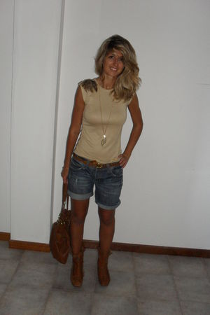 brown boots - Cubus shorts - beige DIY top - beige