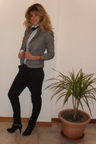 gray tweed Vero Moda jacket - united colors of benetton shirt - black papillon v