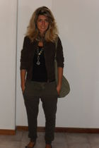 brown jacket - green Oysho pants - green H&M purse - Mango