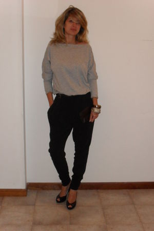 gray next top - black pants - black Principles shoes - silver vintage bracelet -