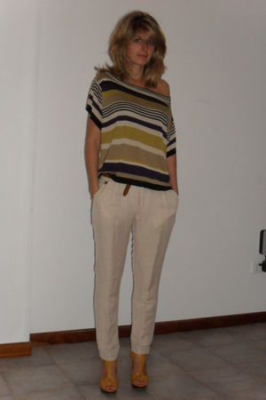 yellow fiore collection shoes - beige Zara pants - brown vintage belt