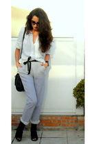 white Zara blazer - silver Oysho pants - white Zara blouse - black Max Mara belt