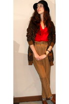 burnt orange Zara shoes - black H&M hat - red Zara sweater - burnt orange Zara c