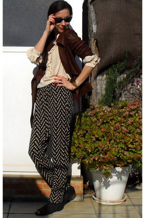 black Oysho pants - tawny Zara jacket - cream SANDRO blouse