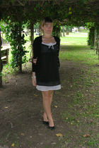 black benetton dress - black benetton sweater - black flats shoes