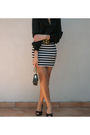 Black-h-m-blouse-white-h-m-skirt-black-shoes-black-chanel-purse-gold-acc