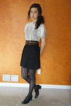 thrifted shoes - American Apparel shirt - Target belt - American Apparel skirt