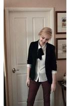 black Temt blazer - maroon Dotti jeans - white Dotti shirt