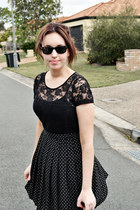 black Kmart shirt - black Princess Highway skirt - black ray-ban glasses