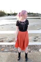 Primark boots - Kmart top - Dotti skirt