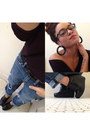 Boyfriend-american-eagle-jeans-eggplant-gap-top-black-forever-21-wedges