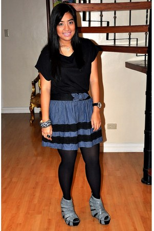 black worn as top Forever 21 dress - black sm department store tights - denim Fo