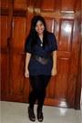 Black-sm-department-store-leggings-dark-brown-mango-belt-navy-zara-top-dar
