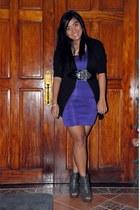 deep purple Forever 21 dress - black Forever 21 cardigan - silver random brand b