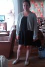 Black-forever-21-dress-white-toms-shoes-blue-vintage-sweater