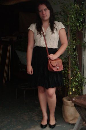 white vintage blouse - black vintage skirt - brown Brighton bag - black Jessica