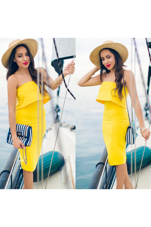 yellow lavish alice dress - blue Brian B Atwood shoes - beige JCrew hat