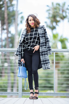 black Charlotte Russe shoes - black plaid Marna Ro coat - black YMI Jeans jeans