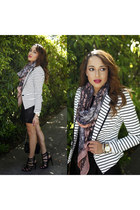 white striped Forever 21 blazer - black Charlotte Russe shoes