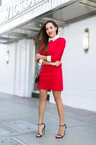 black stuart weitzman shoes - red ted baker dress