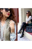necklace - boots - bag - sunglasses - watch - vest