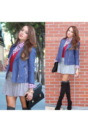 silver Forever 21 skirt - black Charles David boots - sky blue Forever 21 jacket