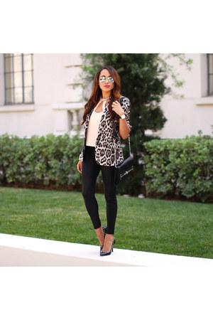 blazer - leggings - shirt - purse - sunglasses - pumps