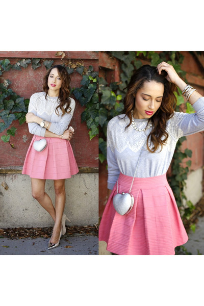 bubble gum via nordstrom Devlin Brand skirt - nude Love Culture shoes