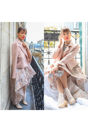 peach Asilio dress - nude Jimmy Choo shoes - peach cmeo collective jacket