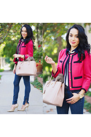 hot pink JCrew jacket - nude Charles David shoes - navy Abbey Dawn jeans