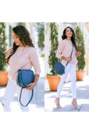 white Steve Madden shoes - white Black Orchid jeans - brahmin bag