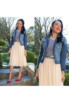 blue denim papaya jacket - red isaac mizrahi shoes - white striped H&M shirt