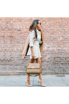 camel AQAQ coat - nude Jimmy Choo shoes - white Forever 21 dress