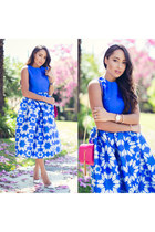 white GianvittoRossi shoes - bubble gum YSL bag - blue pattern Sheinside skirt