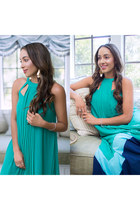 turquoise blue Adelyn Rae dress - Charlotte Russe earrings