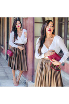 bronze asos skirt - nude Charlotte Russe shoes - maroon Chanel bag