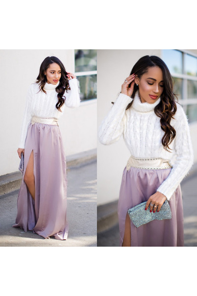 light pink Lulus skirt - silver Qupid shoes - white Lulus sweater