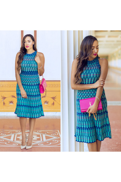 teal Missoni dress - cream Jimmy Choo shoes - bubble gum YSL bag