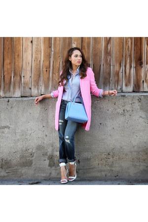 bubble gum Zara jacket - white Charlotte Russe shoes - navy Fidelity Denim jeans