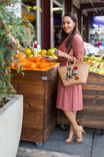 light pink Forever 21 dress - nude Charlotte Russe shoes - beige thrifted bag