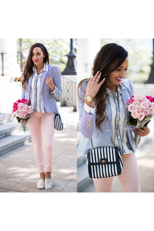 light blue striped JCrew blazer - peach YMI Jeans jeans
