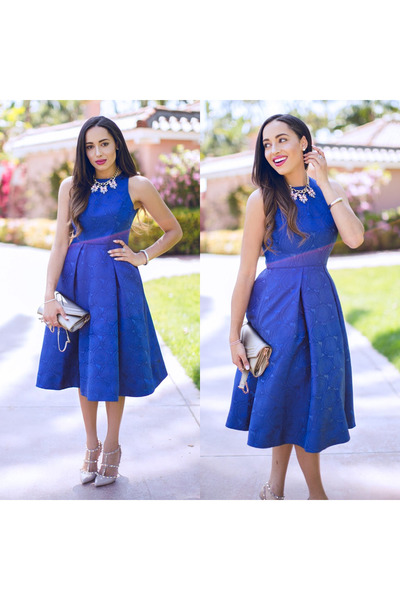 blue Maggy London dress - nude Valentino shoes - silver Lulus bag