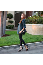 teal vintage blazer - black Charlotte Russe shoes - black Urban Exchange bag
