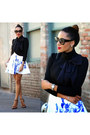Dress-jacket-sunglasses-earrings-heels